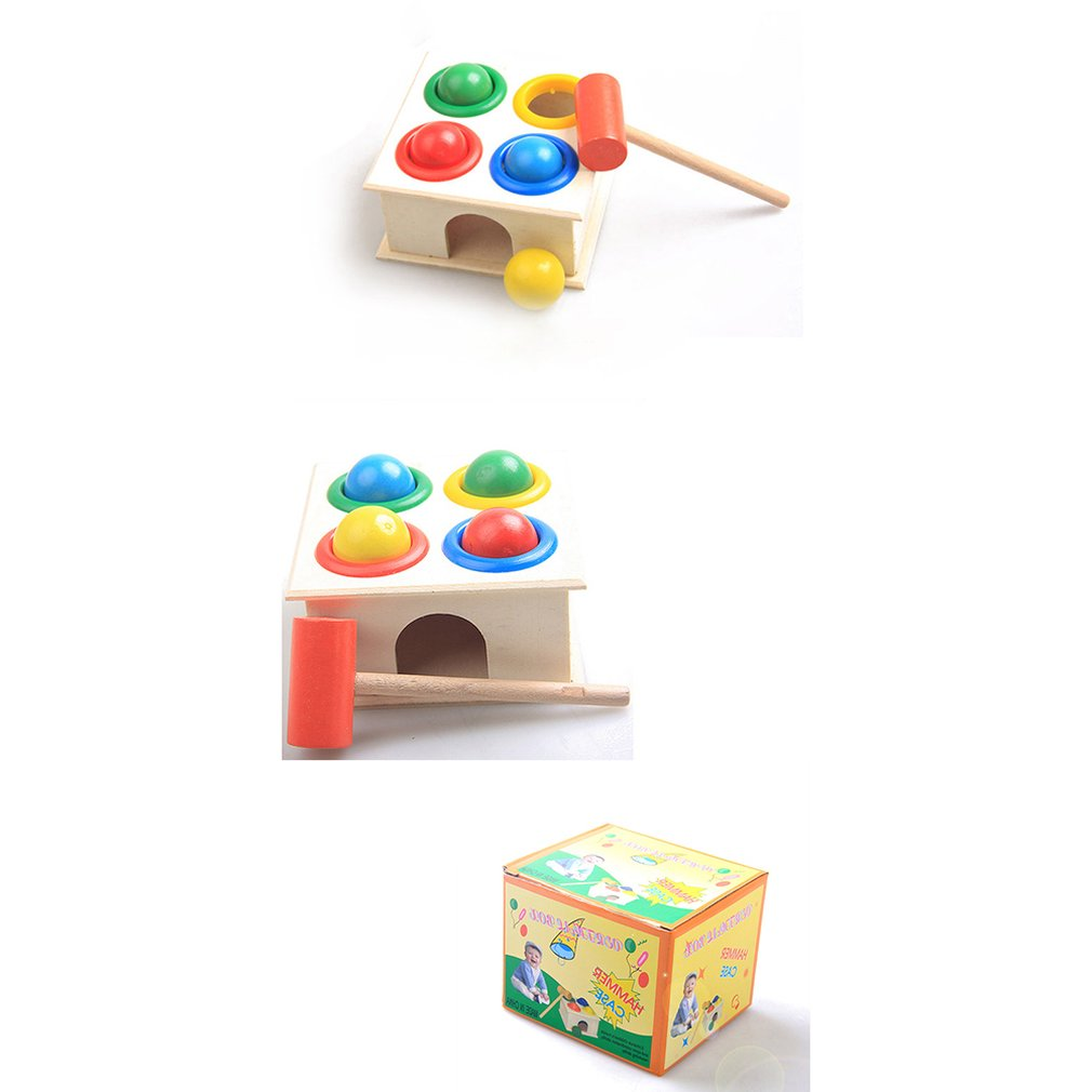Baby Beat Toys Colorful Wooden Hammering Ball+Wooden Hammer Box Children Kids Non-toxic Early Educational Toy