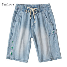 The Latest casual Men short Jeans Multi-pocket Straight Fashion lace-up Light blue Men's Denim shorts in Summer 2020