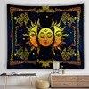 Золотое Солнце лунный Бог гобелен настенный Тотем домашнего украшения Божественная Индия черный фон настенный гобелен из ткани номер Деко...