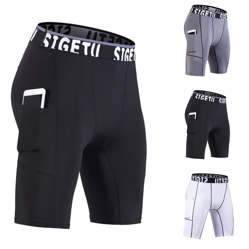 2019 Trendy Mens Compression Shorts Line Short Tights Skinny Bodybuilding Breathable Man's Bottom Fitness Pocket Shorts