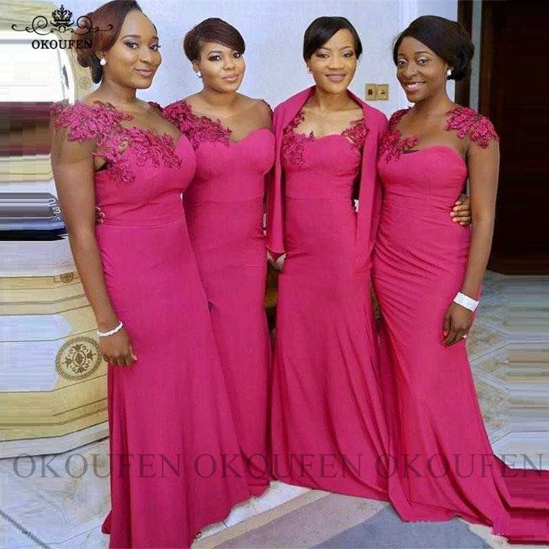 Fuchsia Long Bridesmaid Dresses With Capped Sleeves Appliques Mermaid Wedding Guest Dress Party For Women Vestido Madrinha