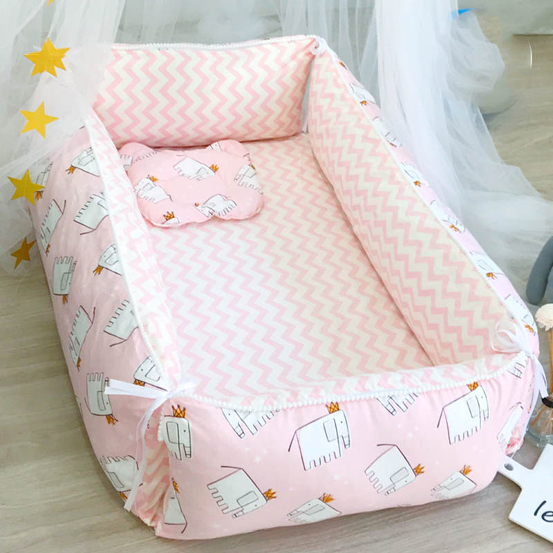 Baby Bed Newborn Portable Crib  Travel Bed Cotton Cradle 2pcs/set Infant Sleeping Toddler Bed Removable Foldable BXX027