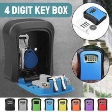 Caixa de bloqueio de chave à prova de intempéries 4 dígitos combinação caixa de bloqueio de armazenamento chave de liga de alumínio montado na parede ao ar livre indoor