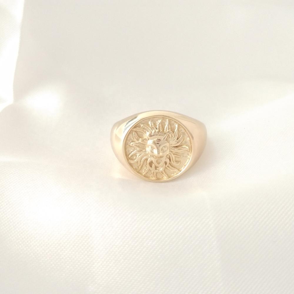 LOZRUNVE réglable 925 argent Rhodium plaine grand soleil hommes femmes anneau personnalisé