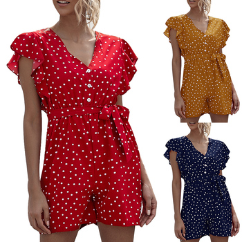Women Summer Sexy V Neck Polka Dot Printed Short Jumpsuit Ladies Casual Boho Ruffle Short Sleeve Button Lace Up Playsuit D30