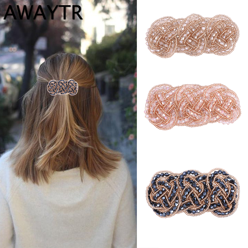 AWAYTR Fashion Hair Clip  Korean Hand Weaving Crystal Hairpin Women Barrettes Hairgrip Hair Accessories