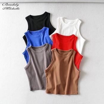 BRADELY MICHELLE 2020 Summer Women's party cotton Crop Tops sexy Elastic Solid sleeveless o-neck Short Tank Top Bar 1