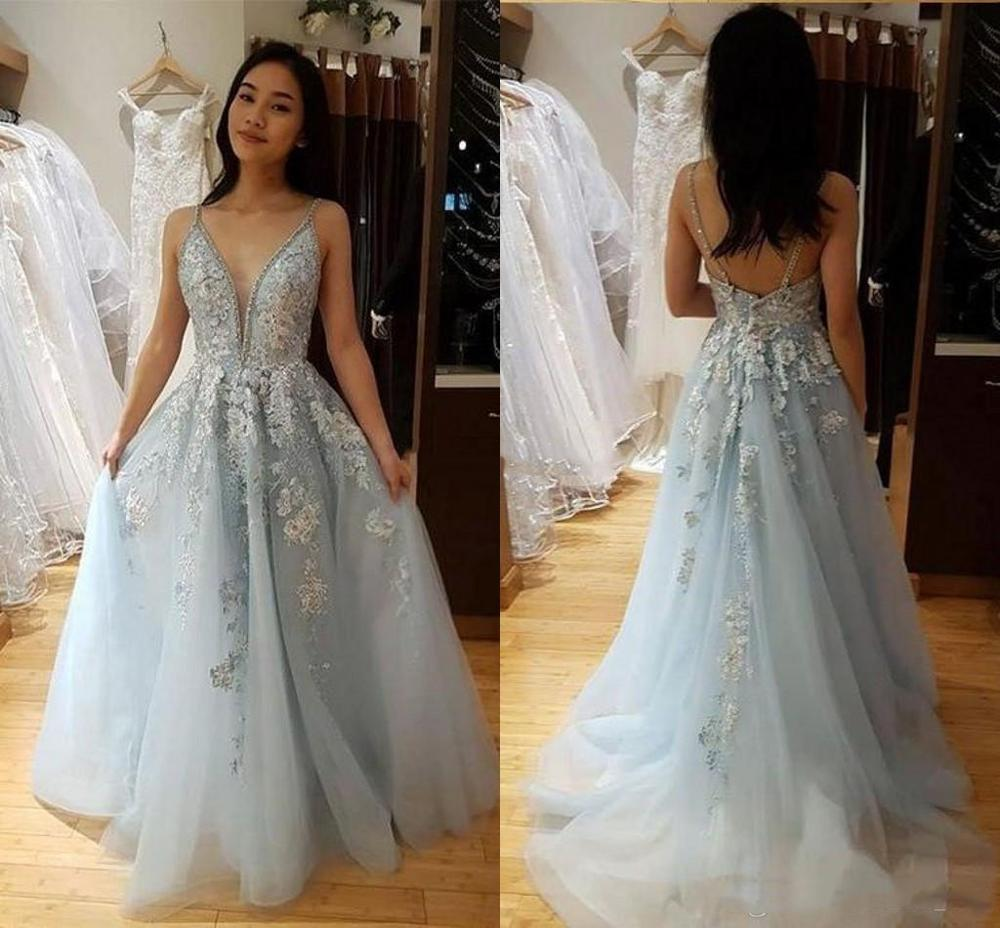Chic Spaghetti V-Neck Prom Dresses Long 2019 Lace Appliques Sequins Beaded Backless Formal Prom Gowns Custom Vestidos De Gala