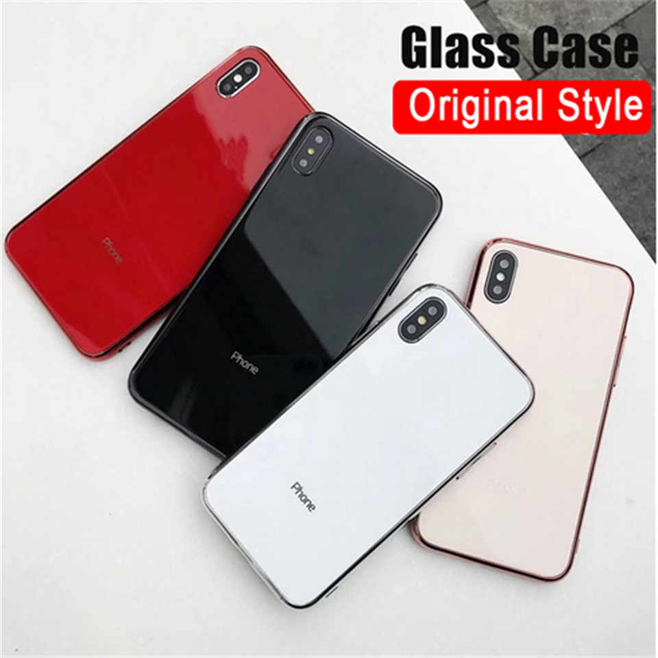 Luxury glass for Apple iphone 6 7 8 Plus X XS X XR MAX cover 7 8plus 6G 6S X XS MAX bright mirror mobile phone case