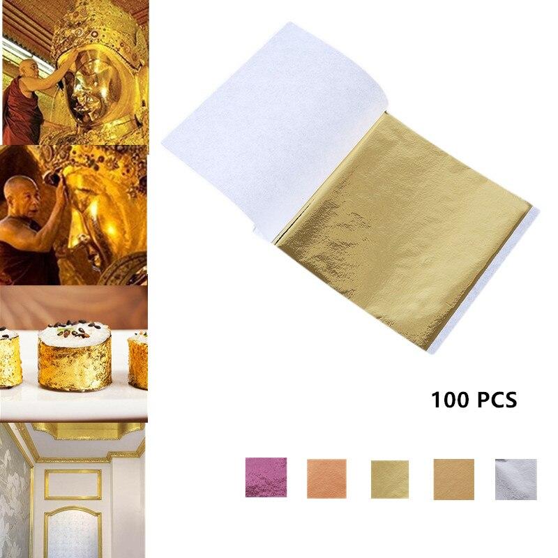 Листы из съедобной золотой фольги 24 К, листы для украшения торта, маски для лица, декоративная бумага для дома, 100 шт., Золотая фольга