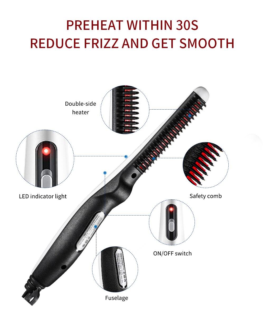 Quick Beard Straightener Hair Comb Multifunctional Hair  For Man Curler Show Cap Tool Electric Heating Hair Brush 9