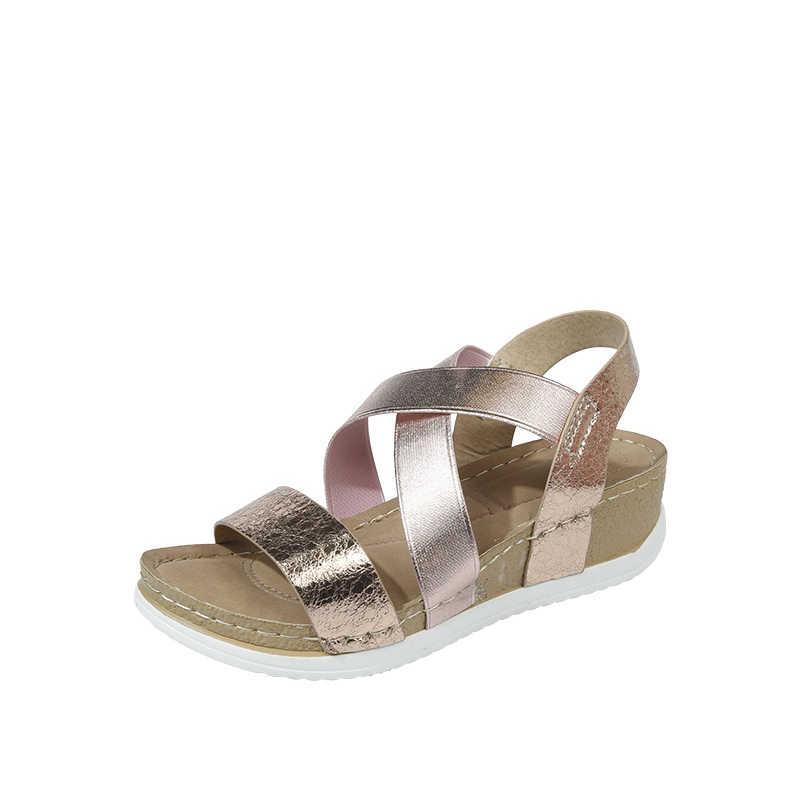 Kadın kama sandalet elastik PU altın rahat yaz ayakkabı kadın Platform sandaletler bayanlar roma burnu açık kadın artı boyutu