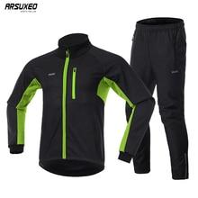 ARSUXEO Conjunto de chaqueta térmica de ciclismo para hombre, chaqueta de ciclismo a prueba de viento, resistente al agua, pantalón cálido, 20A