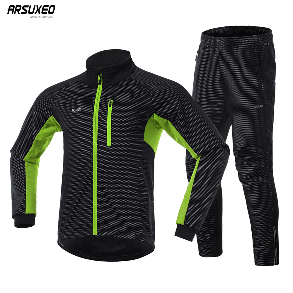 ARSUXEO Men Winter Thermal Cycling Jacket Set Windproof Waterproof Warm Bike Jacket MTB Pant Bicycle Suit Cycling Clothing  20A