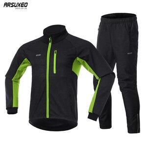 Image 1 - Мужская зимняя теплая велосипедная куртка ARSUXEO, комплект, ветрозащитная Водонепроницаемая теплая велосипедная куртка, брюки для горных велосипедов, велосипедный костюм, одежда для велоспорта 20A