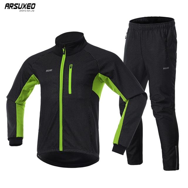 Мужская зимняя теплая велосипедная куртка ARSUXEO, комплект, ветрозащитная Водонепроницаемая теплая велосипедная куртка, брюки для горных велосипедов, велосипедный костюм, одежда для велоспорта 20A