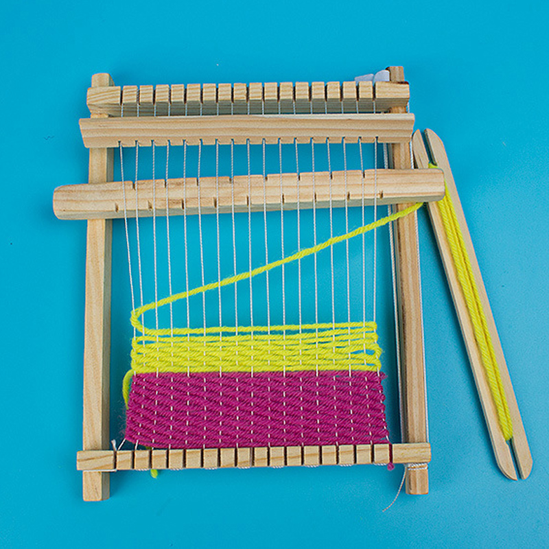 Kids Wooden DIY Hand-Knitting Loom Kit Fun Toy Weaving Machine Science Educational Toys for Children Scientific Model Toys Gift