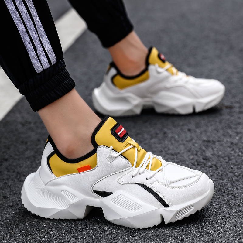 Sooneeya Men Chunky Sneakers High Quality PU Breathable Casual Dad Shoes Men Lace Up Fashion Outdoor Sneakers Male Adult