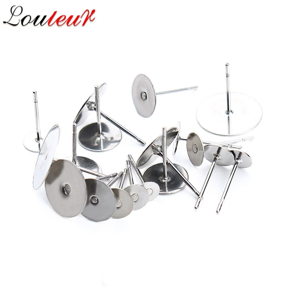 LOULEUR 100pcs/lot Stainless Steel Ear Post Blank Earrings Base Fit 3 4 5 6 8 10 12 Mm Cabochon Settings For Diy Jewelry Making