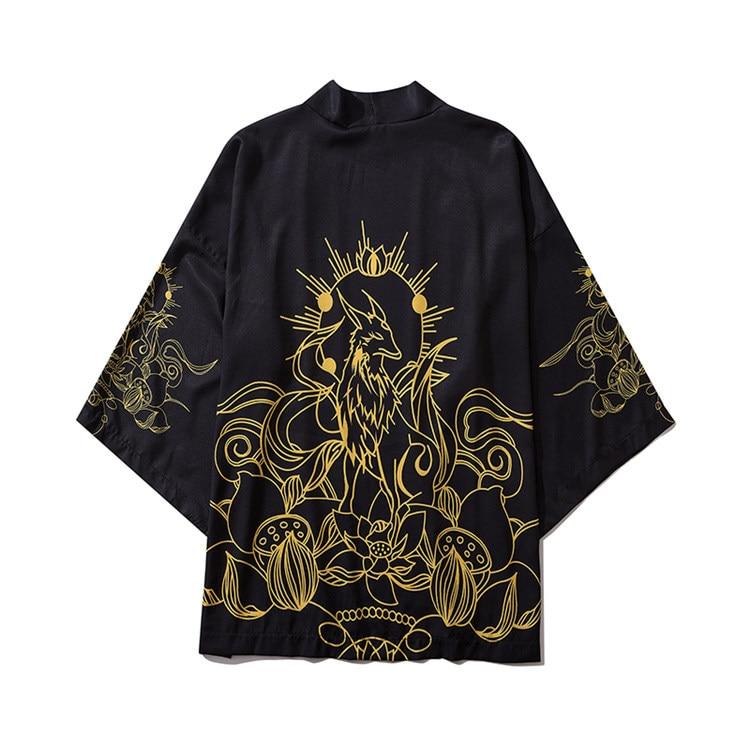 Harajuku Male Kimono Cardigan Black Print Yukata Hip Hop Robe Gown Street Style Casual Kimono Shirt Men Japanese Style Kimono