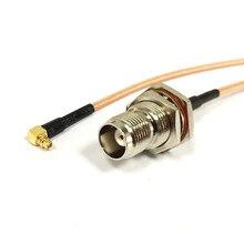 Tnc fêmea interruptor de porca mmcx macho ângulo direito trança cabo rg316 atacado navio rápido 15cm para wifi modem sem fio