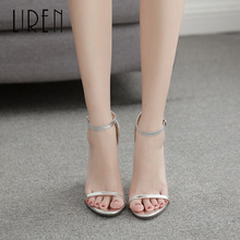 Liren 2019 Autumn Lady Fashion Sexy Casual Buckle Strap Sandals Pointed Open Toe High Square Heels Sandal