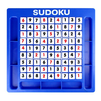 this image shows the large sudoku set with all the number pieces on the playing surface. they are not shown as a correct solve.