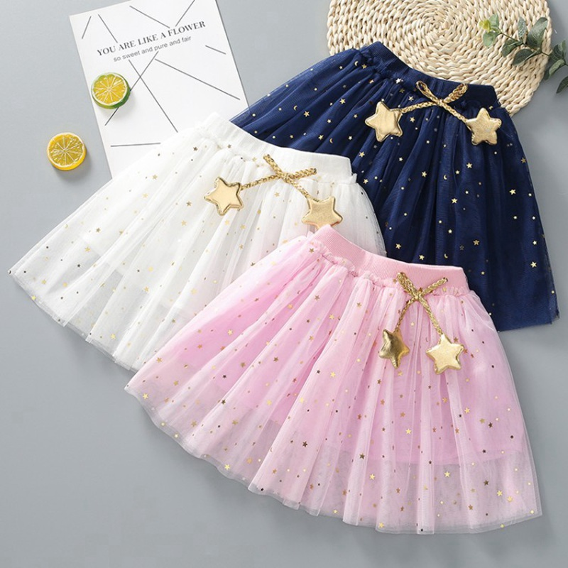 COOTELILI Kids Baby Star Glitter Dance Tutu Skirt For Girl Sequin 3 Layers Toddler Clothes Children Chiffon Princess Skirt