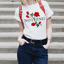 2019 Summer Girl Friends Cotton Casual TShirt Printed T Shirt Red Rose Women Tops Short Nothing Letter Sleeve T-Shirt