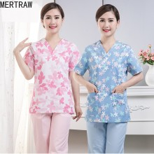 V-neck surgical clothes hand-washing clothes beauty salon dental hospital nurse clothes summer short sleeve split suit female