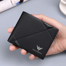 WILLIAMPOLO Mens Slim Wallet Genuine Leather Mini Purse Casual Design Bifold Brand Short Wallet Carteira Masculina PL191431SMT