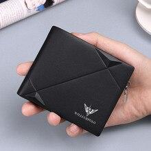 WILLIAMPOLO erkek ince cüzdan hakiki deri Mini çanta rahat tasarım Bifold marka küçük cüzdan Carteira Masculina PL191431SMT