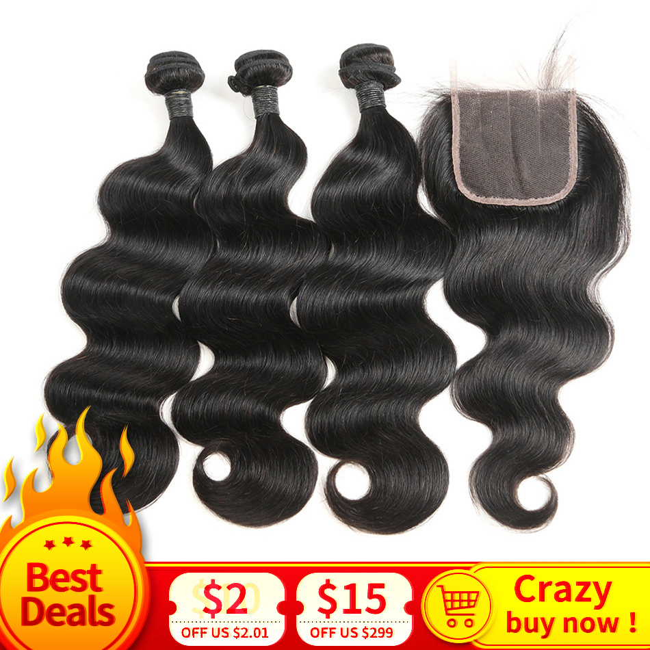 Grade MIHAIR Body Wave Hair Bundles With Closure Brazilian Remy Human Hair With 4*4 Lace Closure  Hair Weave Bundles