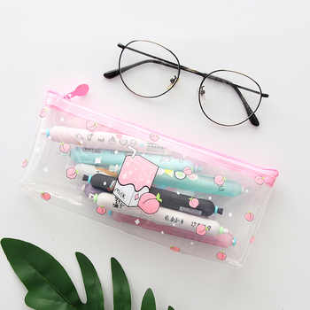 24 pcs/lot Creative Peach Milk Transparent PVC Pencil Case Stationery Storage Bag Escalar Papelaria Escolar School Supplies