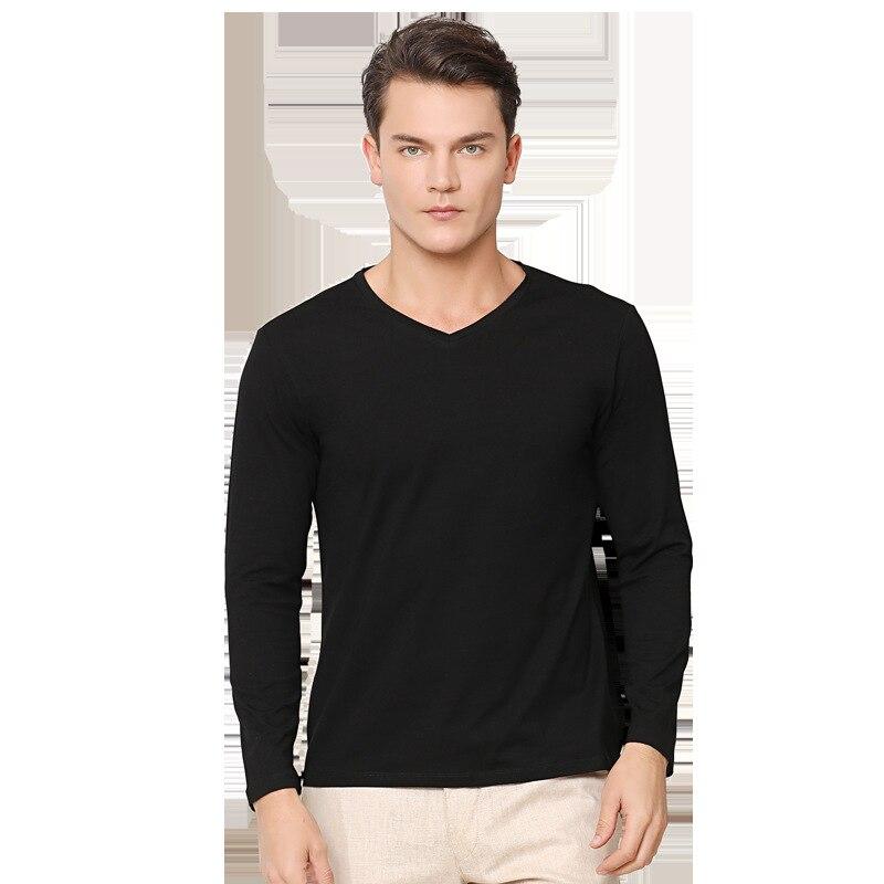 2019 Nuovi Uomini di Stile T Shirt Manica Lunga Scollo a Cuore 95% Cotone Della Camicia di Base con Scollo a V Vestiti di Cotone - 3