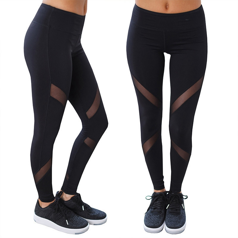 2020New Style Pants High Waist Mesh Stitching Pants European And American Fitness Womens Leggings Solid Ankle-Length Casual