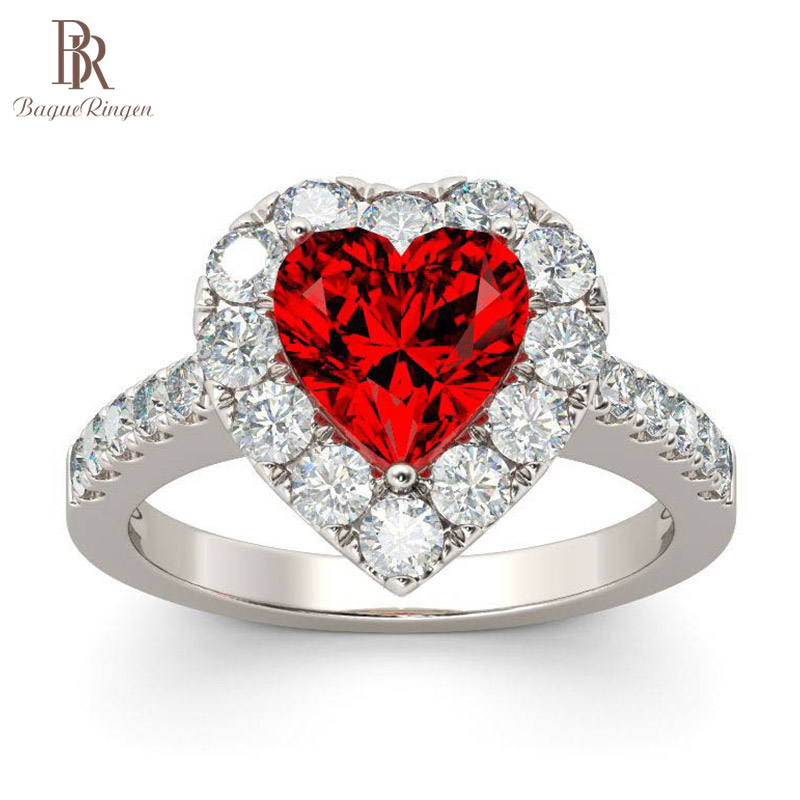 Bague Ringen Sweet Heart Shaped Engagement Ring For Women Silver 925 Jewelry With Gemstones Ruby Zircon Female Gift Wholesale