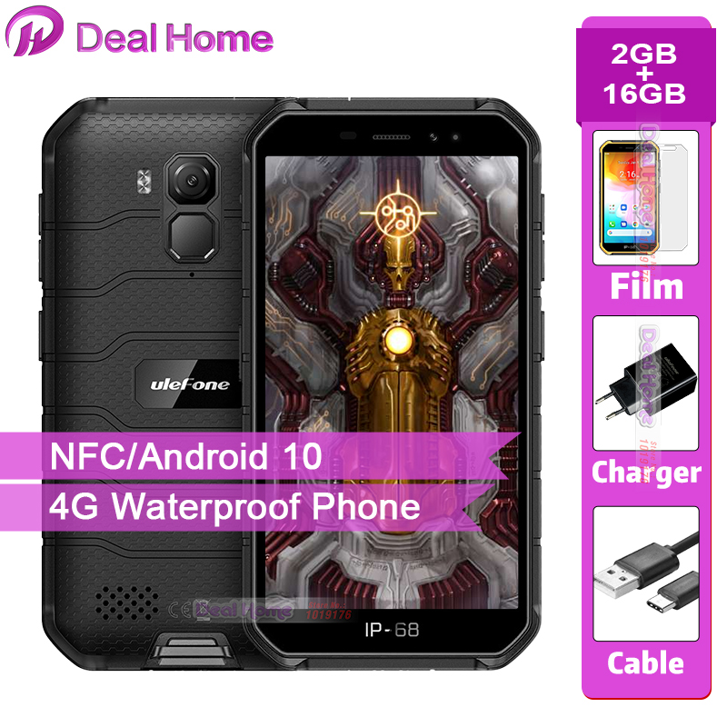 Ulefone Armor X7 Rugged Smartphone Android 10 Cell Phone 2GB RAM 16GB ROM IP68 Quad-core NFC 4G Mobile Phone