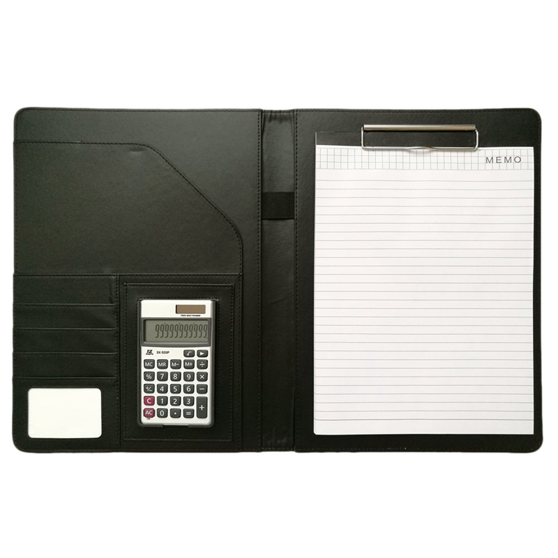 A4 Leather Office Portfolio Organizer Business Padfolio With Solar Calculator And Notebook For Businessman Or Interview