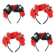 цены New Fashion Halloween Women's Dead Flower Rose Crown Headband Horror Skull Hair Hoop Headwear Accessories