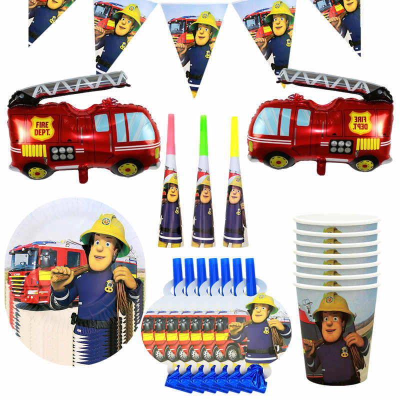 Cartoon Fireman Sam Party Supplies Disposable Tableware Paper Plates Cups Fire Truck Balloon Birthday Party Set Boys Baby Shower