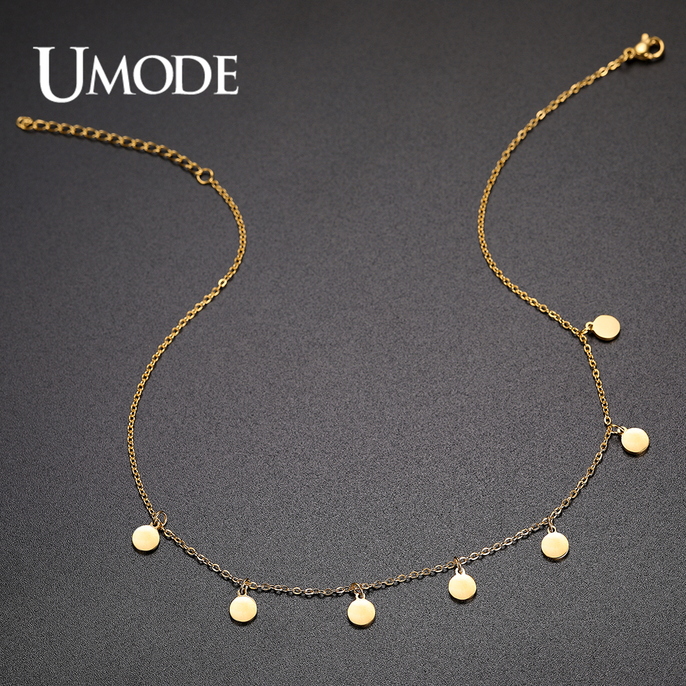 UMODE Chic Coins Gold Stainless Steel Necklaces for Women Round Choker Female Party Wedding Jewelry Girls Collier UN0387