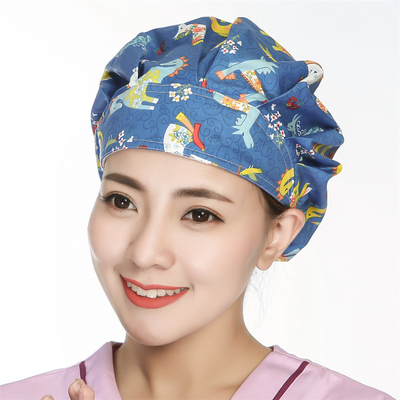 Women Surgical Doctor Nurse Caps For Long Hair Adjustable Pattern Printed Hospital Surgery Scrub Hats Dentist Chirurgie Kappe