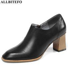 Allbitefo 브랜드 하이힐 파티 여성 신발 전체 정품 가죽 여성 하이힐 신발 사무실 숙녀 신발 여성 발 뒤꿈치