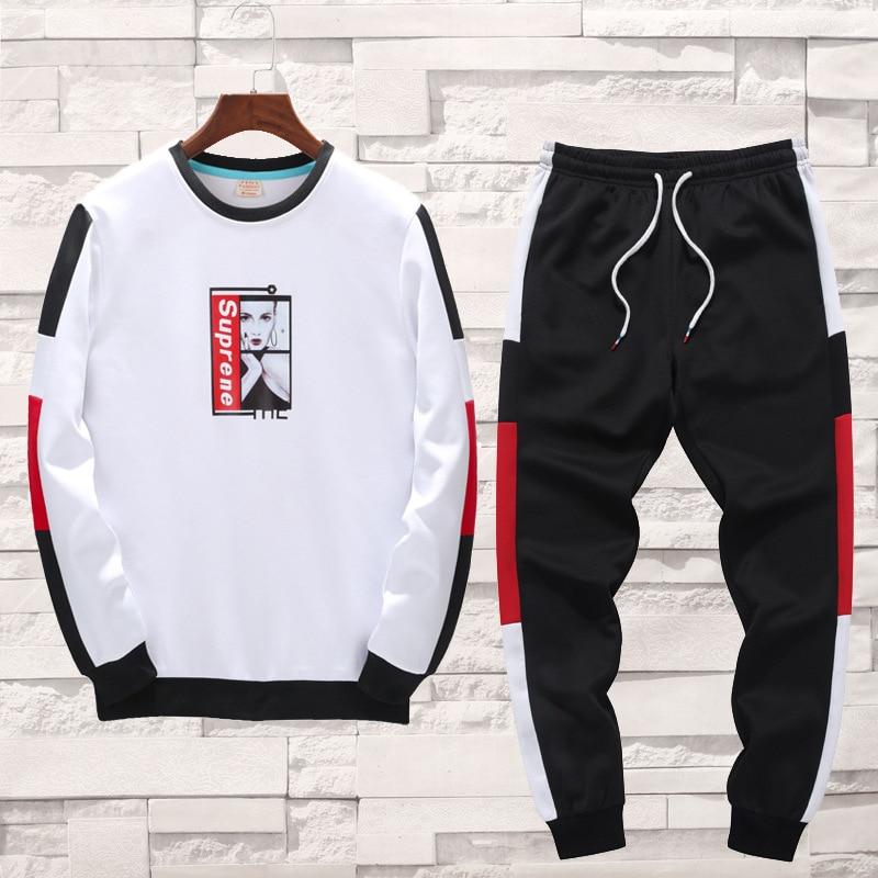 2019 Autumn New Men's Fashion Sweatshirt Loose Baseball Suit Young Men's Fashionable Round Collar Long-sleeved Men Sweatshirt
