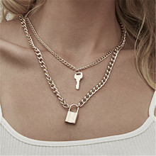 Fashion Key Padlock Pendant Necklace for Women Gold/Silver Lock Layered Chain on the Neck With Punk Jewelry