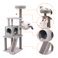 Cat Tree Modern Cat Wood Furniture Featuring 2 Super Large Condos Sturdy Cat Scratching Posts With Dangling Balls And Perches
