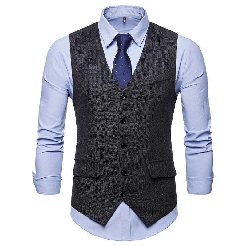 Smart Casual Anzug Weste Männer Business Weste Weste Männer Fashion Formal Kleid Weste Anzug Einreiher Klassische V-ausschnitt Hochzeit Top