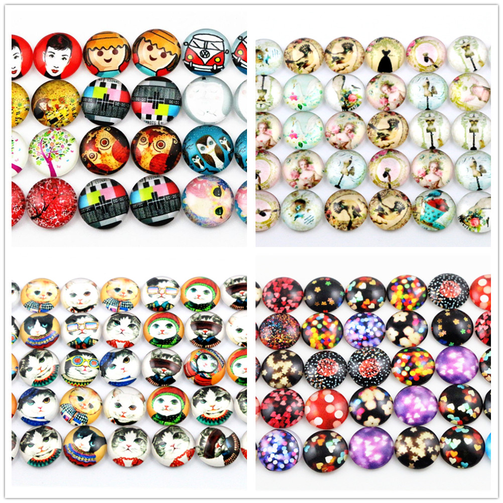 Hot Sale 50pcs 12mm  4 Style New Fashion Mixed Handmade Photo Glass Cabochons Pattern Domed Jewelry Accessories Supplies