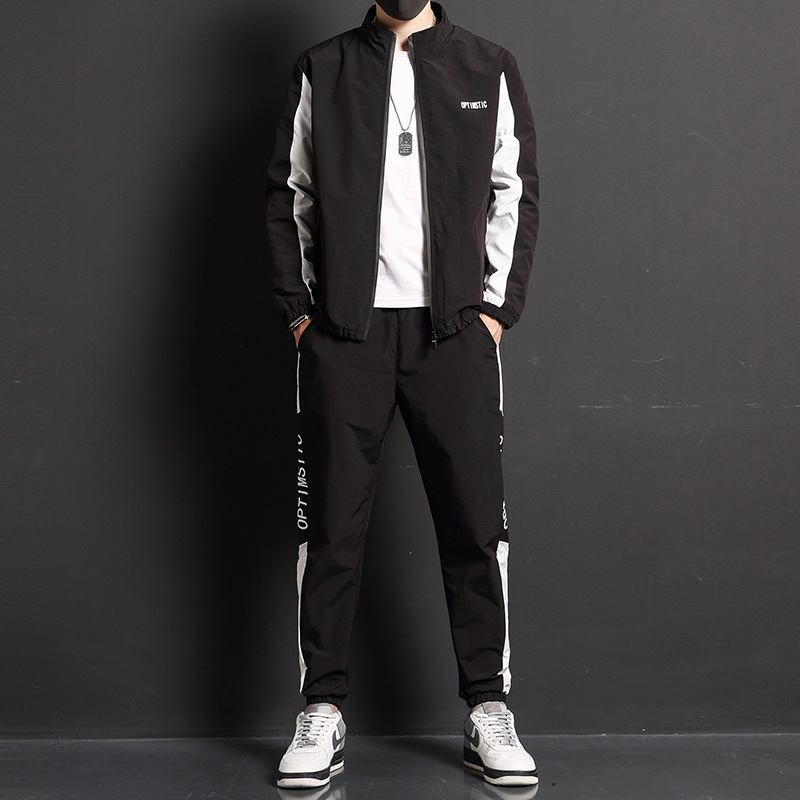 2020 New Spring Sweater Long Sleeve Jacket Korean Fitness Jogging Two-piece Men's Sports Running Suit